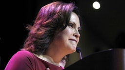 DETROIT, MI - NOVEMBER 06: Gov.-elect Gretchen Whitmer speaks at a Democratic election-night party on November 6, 2018 in Detroit, Michigan. Whitmer defeated Republican Bill Schuette to replace outgoing Republican Gov. Rick Snyder.
