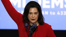 DETROIT, MI - OCTOBER 26: Michigan gubernatorial candidate Gretchen Whitmer speaks at a Democratic rally attended by former President Barack Obama and former Attorney General Eric Holder at Detroit Cass Tech High School on October 26, 2018 in Detroit, Michigan. Obama, and Holder are among approximately a dozen democrats who were targeted by mail bombs over the past several days.