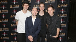 NASHVILLE, TN - MAY 28: David Niacaris, Jon Steingard, Micah Kuiper, and Daniel Biro of Hawk Nelson arrive at the 5th Annual KLOVE Fan Awards at The Grand Ole Opry on May 28, 2017 in Nashville, Tennessee.