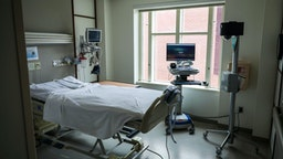 BOSTON, MA - APRIL 15: An empty room is set up and ready for a COVID-19 patient at Boston Medical Center in Boston on April 15, 2020. A camera is placed in the corner of the room to allow nurses and doctors to keep a close eye on the patient in case they roll off the bed or damage their tubes and wires. BMC has been hit hard by the coronavirus, reporting cases at the highest rate so far among major hospitals in the area, according to data tracked by the Globe.