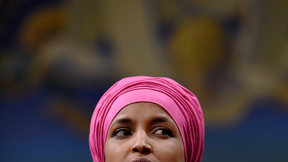 Representative Ilhan Omar (D-Minnesota) attends a press conference with a delegation of Brazilian Congresswomen to discuss human rights and climate justice on February 26, 2020 on Capitol Hill in Washington, DC.