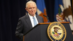 Jeff Sessions, U.S. former attorney general, speaks during a farewell ceremony for Rod Rosenstein, deputy attorney general, in Washington D.C., U.S., on Thursday, May 9, 2019. Rosenstein's exit from the Justice Department caps a tenure marked by a tumultuous relationship with President Donald Trump.