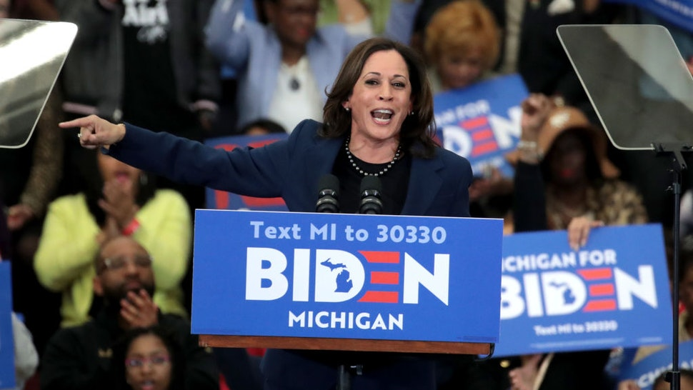 DETROIT, MICHIGAN - MARCH 09: Sen. Kamala Harris (D-CA) introduces Democratic presidential candidate former Vice President Joe Biden at a campaign rally at Renaissance High School on March 09, 2020 in Detroit, Michigan. Michigan will hold its primary election tomorrow. (Photo by Scott Olson/Getty Images)