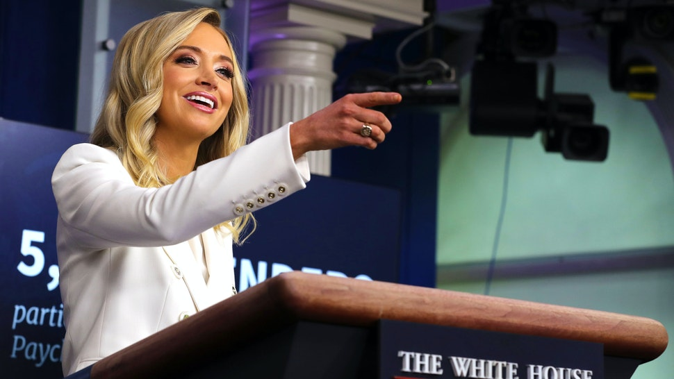 WASHINGTON, DC - MAY 06: White House Press Secretary Kayleigh McEnany answers reporters' questions during a news conference in the Brady Press Briefing Room at the White House May 06, 2020 in Washington, DC. This is McEnany's second formal news conference since becoming President Donald Trump's press secretary last month.