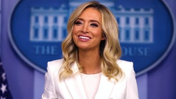 WASHINGTON, DC - MAY 06: White House Press Secretary Kayleigh McEnany conducts a news conference in the Brady Press Briefing Room at the White House May 06, 2020 in Washington, DC. This is McEnany's second formal news conference since becoming President Donald Trump's press secretary last month.