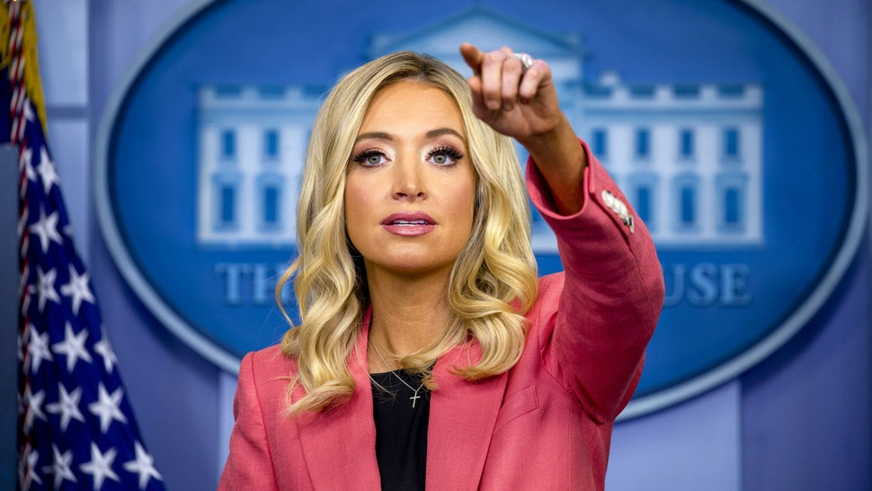 Kayleigh McEnany, White House press secretary, speaks during a briefing in Washington, D.C., U.S., on Wednesday, May 20, 2020. President Trumpsaid he may reschedule a meeting of the Group of Seven (G-7) nations to take place at the presidential retreat at Camp David, Maryland, after having canceled the in-person gathering due to the coronavirus pandemic.