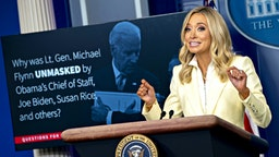 Kayleigh McEnany, White House press secretary, speaks during a news conference in the Brady Press Briefing Room of the White House in Washington, D.C., U.S., on Friday, May 22, 2020. President Trump ordered states to allow churches to reopen from stay-at-home restrictions imposed to combat the coronavirus outbreak, saying he would override any governor who refuses.