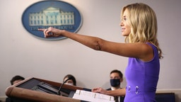 WASHINGTON, DC - MAY 28: White House press secretary Kayleigh McEnany answers questions during the daily briefing at the White House on May 28, 2020 in Washington, DC. McEnany answered a range of questions during the briefing.