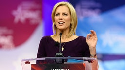 OXON HILL, MD, UNITED STATES - 2019/02/28: Laura Ingraham, host of The Ingraham Angle on Fox News Channel, seen speaking during the American Conservative Union's Conservative Political Action Conference (CPAC) at the Gaylord National Resort & Convention Center in Oxon Hill, MD.