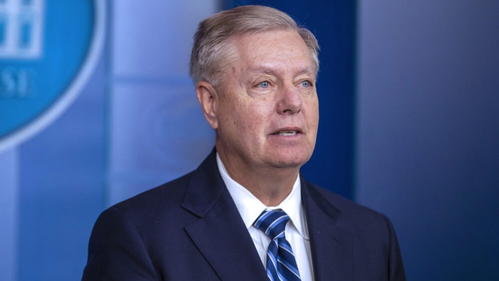 WASHINGTON, DC - OCTOBER 27: U.S. Senator Lindsey Graham (R-SC) speaks to the media after President Donald Trump delivered remarks on the death of ISIS leader Abu Bakr al-Baghdadi, at the White House on October 27, 2019 in Washington, DC. President Trump had announced that ISIS leader Abu Bakr al-Baghdadi has been killed in a military operation in northwest Syria.
