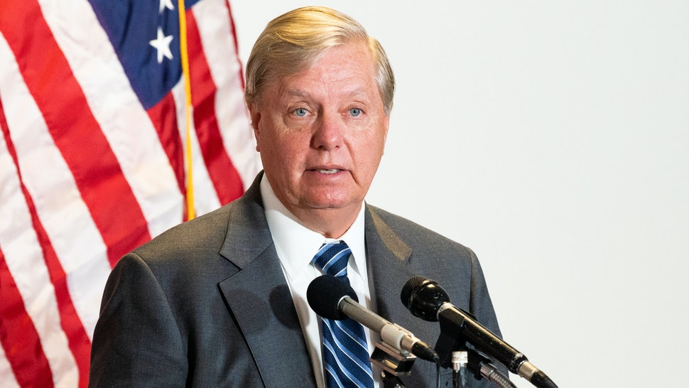 WASHINGTON, UNITED STATES - MAY 12, 2020: U.S. Senator Lindsey Graham (R-SC) speaks to the media on his way to the Republican caucus launch.