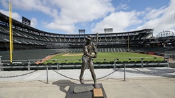 CHICAGO, ILLINOIS - MAY 08: A general view of a statue of Chicago White Sox Hall of Fame player Harold Baines is seen in the outfield of Guaranteed Rate Feld, home of the White Sox, on May 08, 2020 in Chicago, Illinois. The 2020 Major League Baseball season is on hold due to the COVID-19 pandemic. (Photo by Jonathan Daniel/Getty Images)