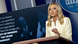Kayleigh McEnany, White House press secretary, speaks during a news conference in the Brady Press Briefing Room of the White House in Washington, D.C., U.S., on Friday, May 22, 2020. President Trump ordered states to allow churches to reopen from stay-at-home restrictions imposed to combat the coronavirus outbreak, saying he would override any governor who refuses. Photographer: Andrew Harrer/Bloomberg