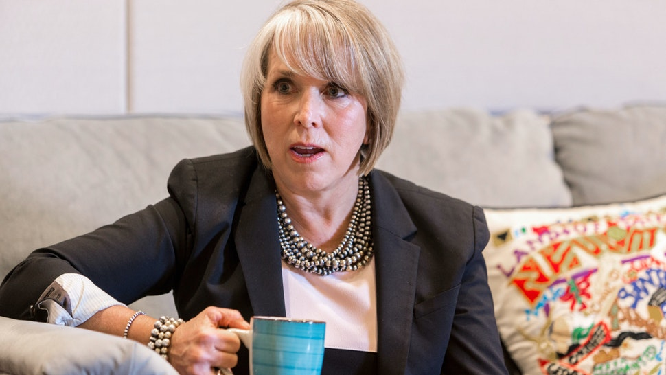 Michelle Lujan Grisham, governor of New Mexico, speaks during an interview at her office in Santa Fe, New Mexico, U.S., on Thursday, Aug. 8, 2019. Lujan Grisham is balancing her concern over the catastrophic effects of climate change with the state's extraordinary dependence on oil and gas.
