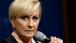 """WASHINGTON, DC - JULY 12: Mika Brzezinski takes part in """"The David Rubenstein Show: Peer-To-Peer Conversations""""at The National Archives on July 12, 2017 in Washington, DC."""