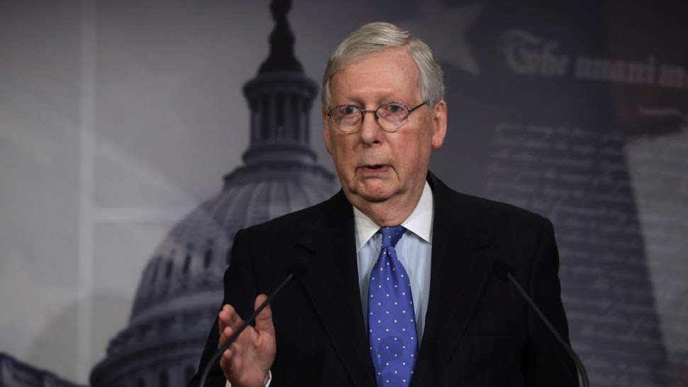 WASHINGTON, DC - MARCH 17: U.S. Senate Majority Leader Sen. Mitch McConnell (R-KY) speaks to members of the media during a news conference at the U.S. Capitol March 17, 2020 in Washington, DC. Sen. McConnell said the Senate will pass the House coronavirus funding package in response to the outbreak of COVID-19. (Photo by Alex Wong/Getty Images)