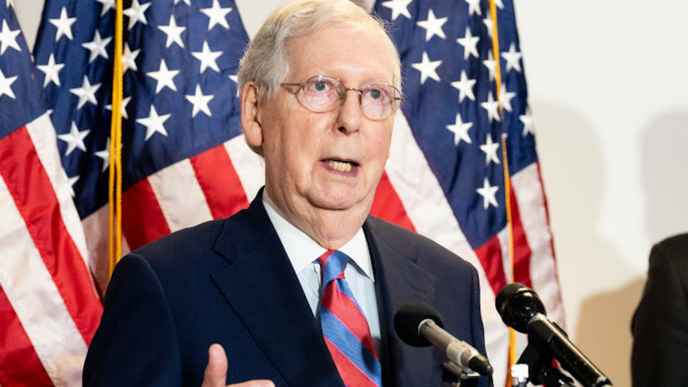 WASHINGTON, UNITED STATES - MAY 12, 2020: U.S. Senator Mitch McConnell (R-KY) speaks during the Republican Senate Caucus Leadership press conference in Washington, DC.