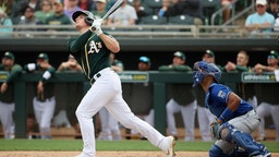 Matt Chapman #26 of the Oakland Athletics bats against the Kansas City Royals during the MLB spring training game at HoHoKam Stadium on March 10, 2020 in Mesa, Arizona. (Photo by Christian Petersen/Getty Images)
