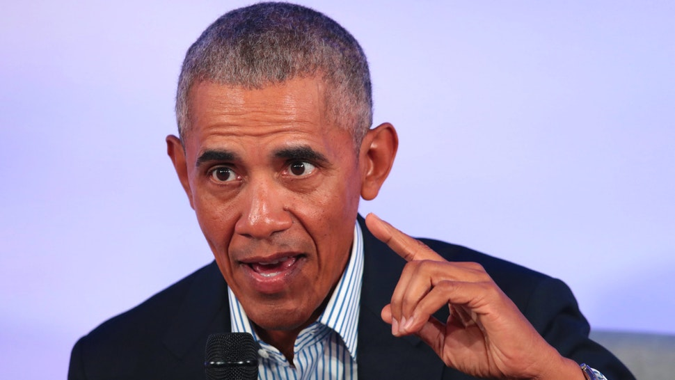 CHICAGO, ILLINOIS - OCTOBER 29: Former U.S. President Barack Obama speaks to guests at the Obama Foundation Summit on the campus of the Illinois Institute of Technology on October 29, 2019 in Chicago, Illinois. The Summit is an annual event hosted by the Obama Foundation.
