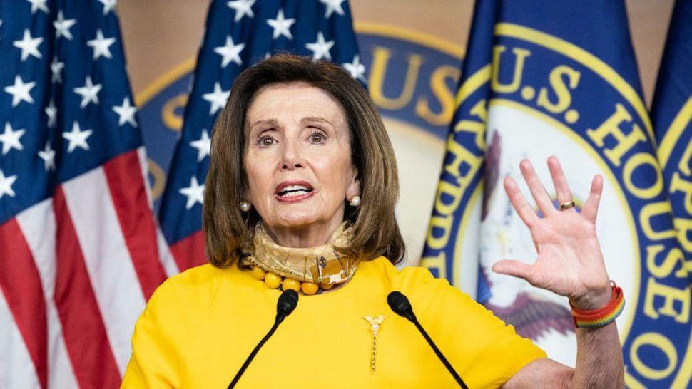 WASHINGTON, UNITED STATES - MAY 20, 2020: House Speaker, Nancy Pelosi (D-CA) speaking during her weekly press conference at the U.S.Capitol.