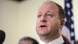 HIGHLANDS RANCH, CO - MAY 08: Colorado governor Jared Polis speaks to the media regarding the shooting at STEM School Highlands Ranch during a press conference at the Douglas County Sheriffs Office Highlands Ranch Substation on May 8, 2019 in Highlands Ranch, Colorado. One student was killed and eight others were injured in the shooting.