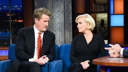 The Late Show with Stephen Colbert and guests Joe Scarborough and Mika Brzezinski during Thursday's October 18, 2018 show. (Photo by Scott Kowalchyk/CBS via Getty Images)