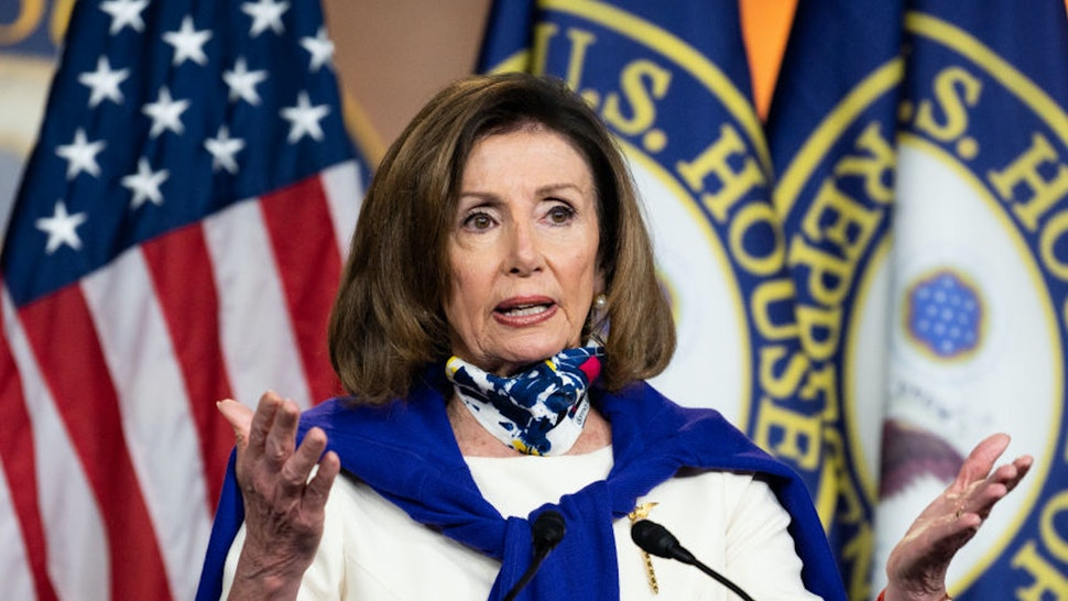 WASHINGTON, UNITED STATES - MAY 21, 2020: House Speaker, Nancy Pelosi (D-CA) speaking during a press event on the anniversary of House passage of the 19th amendment and the vote-by-mail and election security provisions included in The Heroes Act.