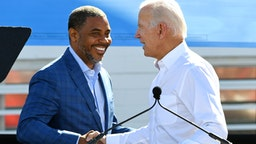 LAS VEGAS, NEVADA - OCTOBER 20: Democratic candidate for Nevada's 4th House District Steven Horsford (L) is greeted by former U.S. Vice President Joe Biden during a rally at the Culinary Workers Union Hall Local 226 as Biden campaigns for Nevada Democratic candidates on October 20, 2018 in Las Vegas, Nevada. Early voting for the midterm elections in Nevada begins today.