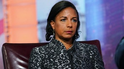 "Susan Rice, former U.S. national security advisor, listens during a Bloomberg Television interview in New York, U.S., on Tuesday, Oct. 8, 2019. Rice discussed her book ""Tough Love."""