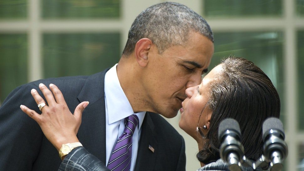 Newly appointed National Security Advisor Susan Rice (R) embraces US President Barack Obama after he made the announcement during an event in the Rose Garden at the White House in Washington, DC, June 5, 2013. Obama formally announced that Rice, currently ambassador to the UN, would take over from Tom Donilon in July, in an appointment which defies Republican claims that she misled Americans over the attack on the US mission in Benghazi.