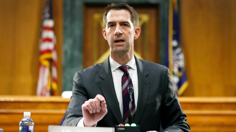 Sen. Tom Cotton, R-AR speaks during a Senate Intelligence Committee nomination hearing for Rep. John Ratcliffe, R-TX, on Capitol Hill in Washington,DC on May 5, 2020. - The panel is considering Ratcliffes nomination for Director of National Intelligence.