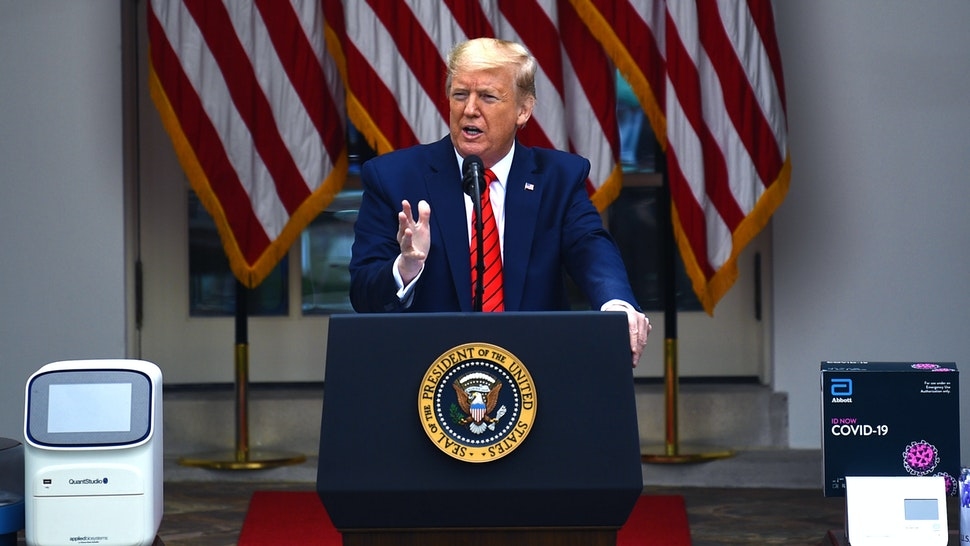 US President Donald Trump speaks during a news conference on the novel coronavirus, COVID-19, in the Rose Garden of the White House in Washington, DC on May 11, 2020.
