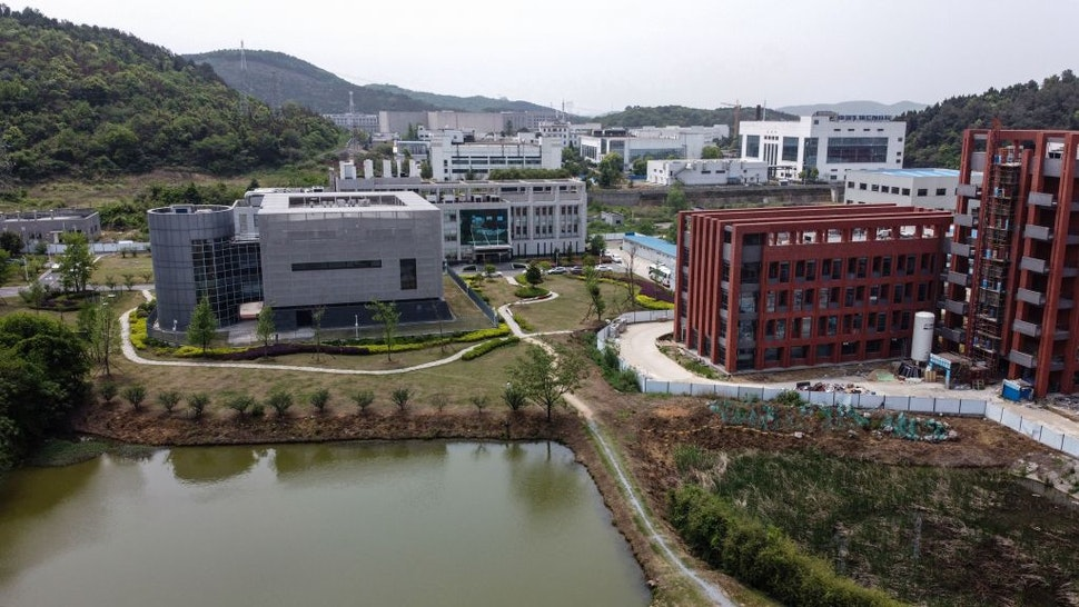 An aerial view shows the P4 laboratory (L) at the Wuhan Institute of Virology in Wuhan in China's central Hubei province on April 17, 2020. - The P4 epidemiological laboratory was built in co-operation with French bio-industrial firm Institut Merieux and the Chinese Academy of Sciences. The facility is among a handful of labs around the world cleared to handle Class 4 pathogens (P4) - dangerous viruses that pose a high risk of person-to-person transmission. (Photo by Hector RETAMAL / AFP) (Photo by HECTOR RETAMAL/AFP via Getty Images)