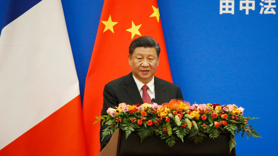 BEIJING, CHINA - NOVEMBER 6: Chinese President Xi Jinping speaks at a China-France Economic Forum at the Great Hall of the People on November 6, 2019 in Beijing, China. Macron, who is on a three-day state visit and also attended the China International Import Expo in Shanghai, said that France and China have found common ground on climate change and trade, but that Beijing needs to be more open to foreign companies, according to published reports. (Photo by Florence Lo - Pool/Getty Images)
