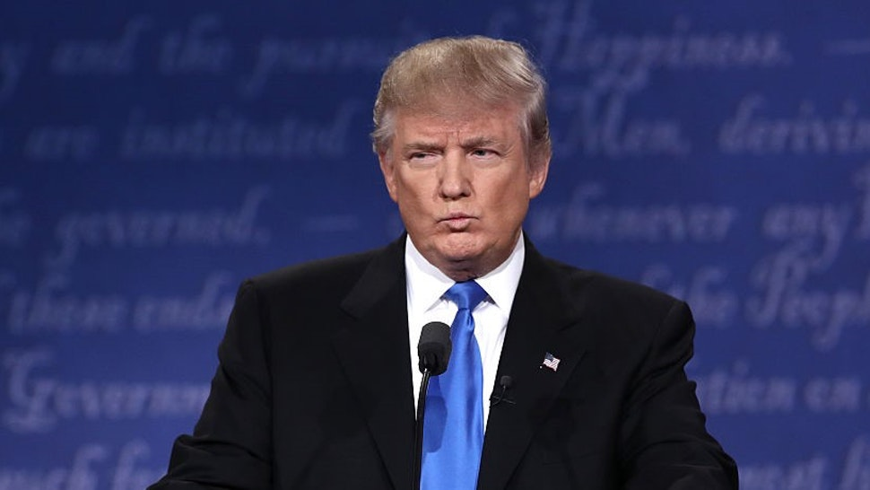 HEMPSTEAD, NY - SEPTEMBER 26: Republican presidential nominee Donald Trump speaks during the Presidential Debate at Hofstra University on September 26, 2016 in Hempstead, New York. The first of four debates for the 2016 Election, three Presidential and one Vice Presidential, is moderated by NBC's Lester Holt. (Photo by