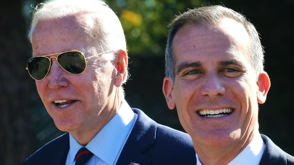 LOS ANGELES, CALIFORNIA - JANUARY 10: Democratic presidential candidate former U.S. Vice President Joe Biden (L) walks with Los Angeles Mayor Eric Garcetti at a campaign event at United Firefighters of Los Angeles City on January 10, 2020 in Los Angeles, California. Garcetti endorsed Biden yesterday.