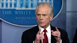 WASHINGTON, DC - MARCH 27: White House Trade and Manufacturing Policy Director Peter Navarro speaks during a briefing on the coronavirus pandemic in the press briefing room of the White House on March 27, 2020 in Washington, DC. President Trump signed the H.R. 748, the CARES Act on Friday afternoon. Earlier in the day, the U.S. House of Representatives approved the $2 trillion stimulus bill that lawmakers hope will battle the economic effects of the COVID-19 pandemic. (Photo by
