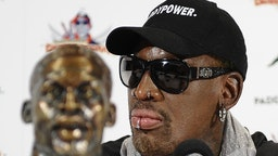 "Former-NBA player Dennis Rodman holds a news conference in New York on September 9, 2013 to discuss his recent trip to North Korea. Rodman said that he will put together a ""basketball diplomacy"" event involving players from North Korea. The event will be sponsored by the Irish online betting company Paddy Power. At the news conference, he called Kim Jong Un, ruler of the repressive state, a ""very good guy."" AFP PHOTO / TIMOTHY CLARY (Photo credit should read"