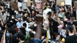 "Protesters demonstrate on June 2, 2020, during a ""Black Lives Matter"" protest in New York City."