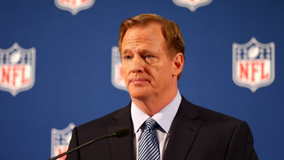 NFL Commissioner Roger Goodell talks during a press conference at the Hilton Hotel on September 19, 2014 in New York City.