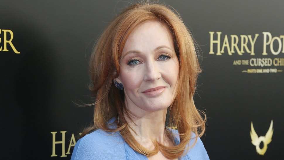 """J.K. Rowling poses at """"Harry Potter and The Cursed Child parts 1 & 2"""" on Broadway Opening Night at The Lyric Theatre on April 22, 2018 in New York City."""