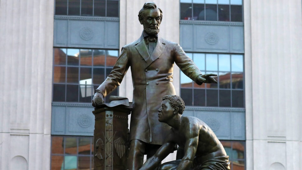 BOSTON, MA - JUNE 2: The Abraham Lincoln statue, 1879, by Thomas Ball in Park Square in Boston, is pictured on Jun. 2, 2017.