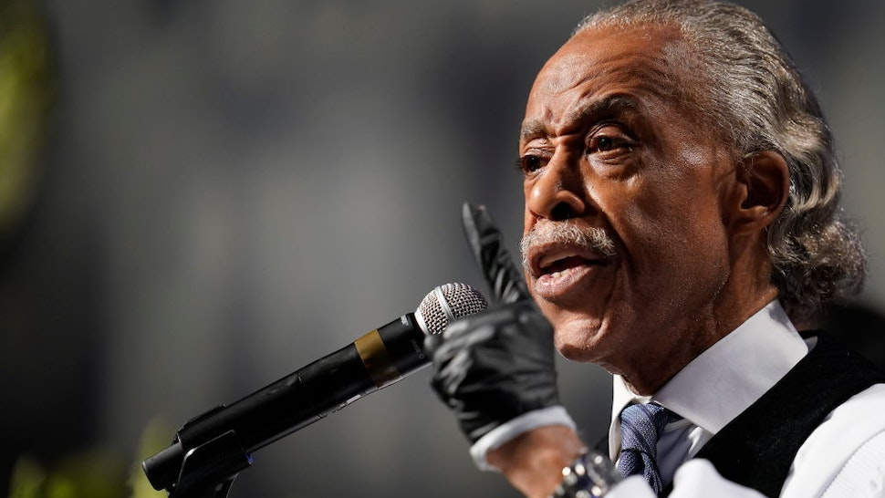 The Rev. Al Sharpton speaks at the funeral service for George Floyd in the chapel at the Fountain of Praise church June 9, 2020 in Houston, Texas. Floyd died May 25 while in Minneapolis police custody, sparking nationwide protests. (Photo by David J. Phillip-Pool/Getty Images)