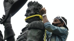 WASHINGTON, DC - JUNE 22: Protesters attempt to pull down the statue of Andrew Jackson in Lafayette Square near the White House on June 22, 2020 in Washington, DC. Protests continue around the country over the deaths of African Americans while in police custody.