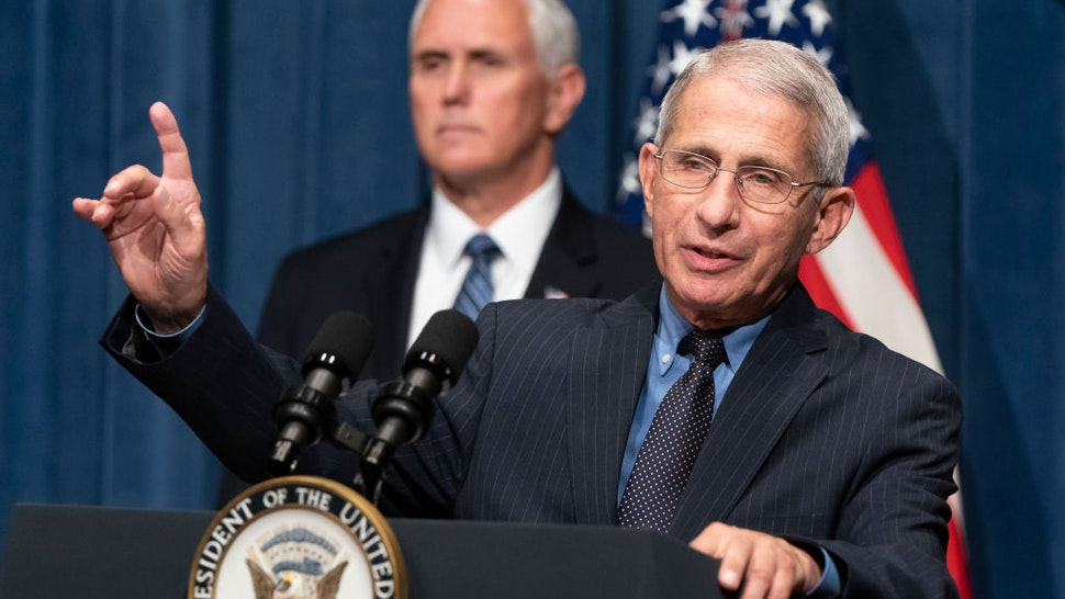 WASHINGTON, DC - JUNE 26: Director of the National Institute of Allergy and Infectious Diseases Anthony Fauci speaks as U.S. Vice President Mike Pence listens after a White House Coronavirus Task Force briefing at the Department of Health and Human Services on June 26, 2020 in Washington, DC. Cases of coronavirus disease (COVID-19) are rising in southern and western states forcing businesses to remain closed. (Photo by Joshua Roberts/Getty Images)