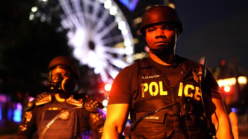 ATLANTA, GA - MAY 31: A police officer is seen during a demonstration on May 31, 2020 in Atlanta, Georgia. Across the country, protests have erupted following the recent death of George Floyd while in police custody in Minneapolis, Minnesota.