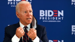 Democratic presidential candidate Joe Biden holds a roundtable meeting on reopening the economy with community leaders at the Enterprise Center in Philadelphia, Pennsylvania, on June 11, 2020.