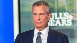 "NEW YORK, NEW YORK - AUGUST 13: (EXCLUSIVE CONTENT) 2020 Democratic Presidential Candidate and NYC Mayor Bill de Blasio visits FOX Business Network's ""Bulls & Bears"" on August 13, 2019 in New York City."