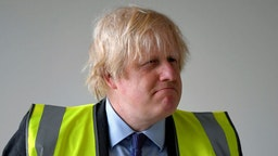 Britain's Prime Minister Boris Johnson visits a science room under construction at Ealing Fields High School, in west London, Britain, June 29, 2020. REUTERS/Toby Melville/Pool