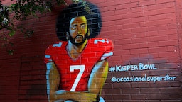 Muhammad Yungai's 'Colin Kaepernick' mural is displayed in the Old Fourth Ward neighborhood in Atlanta, Georgia on July 27, 2019. (Photo By Raymond Boyd/Getty Images)